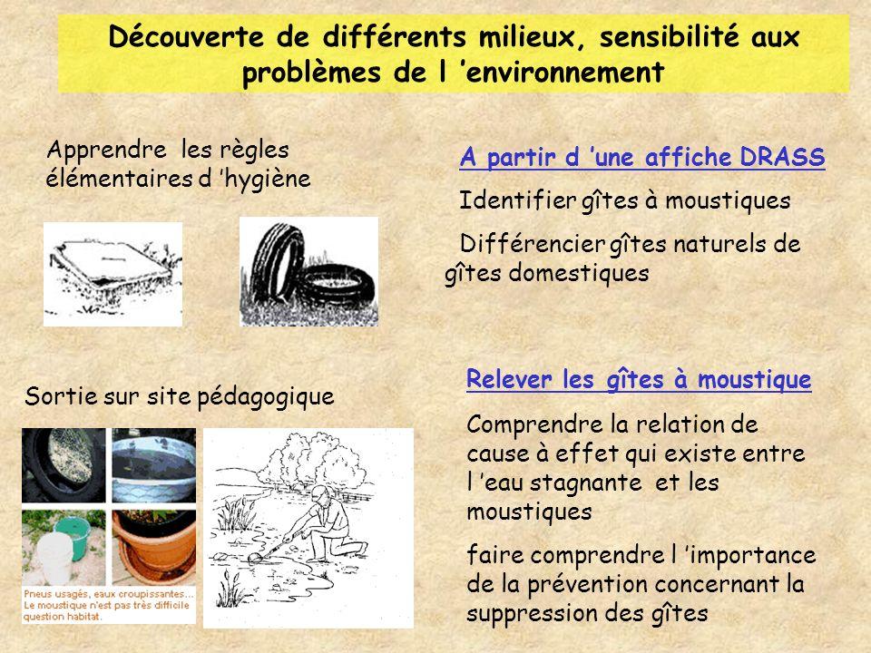 Découverte de différents milieux, sensibilité aux problèmes de l environnement Sortie sur site pédagogique Relever les gîtes à moustique Comprendre la