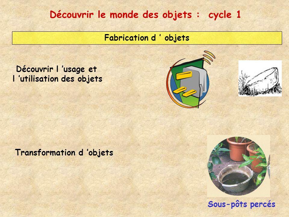 Fabrication d objets Transformation d objets Sous-pôts percés Découvrir l usage et l utilisation des objets Découvrir le monde des objets : cycle 1