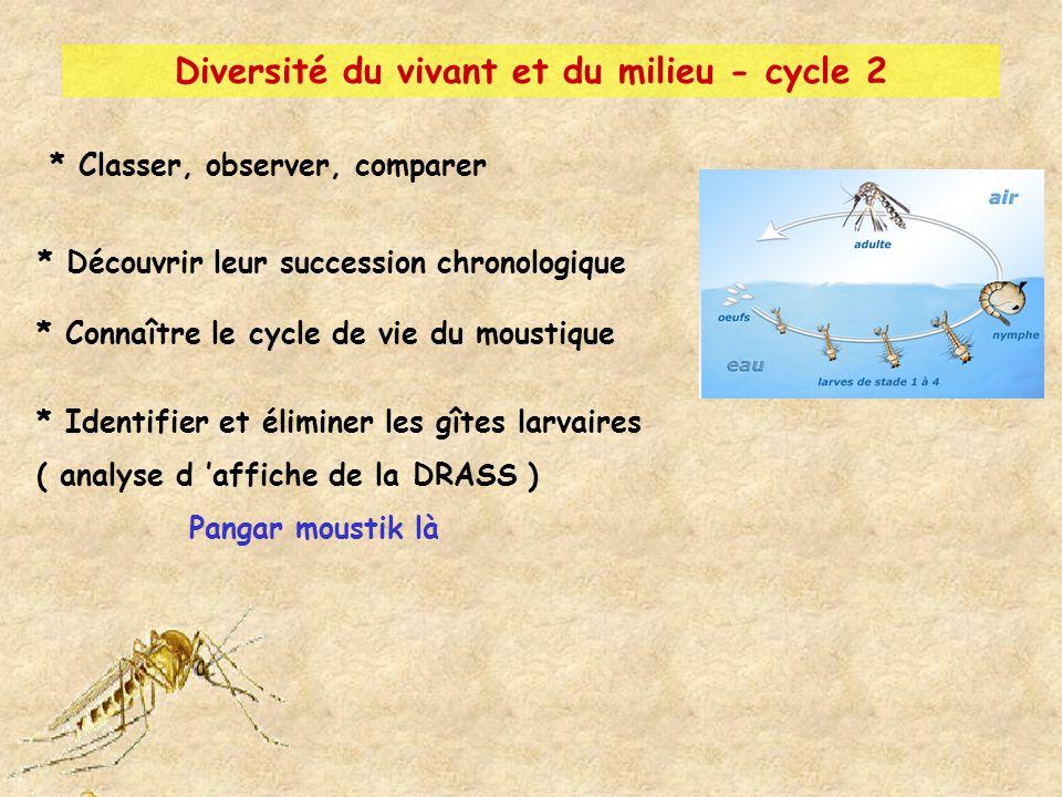 * Classer, observer, comparer * Découvrir leur succession chronologique * Connaître le cycle de vie du moustique * Identifier et éliminer les gîtes la