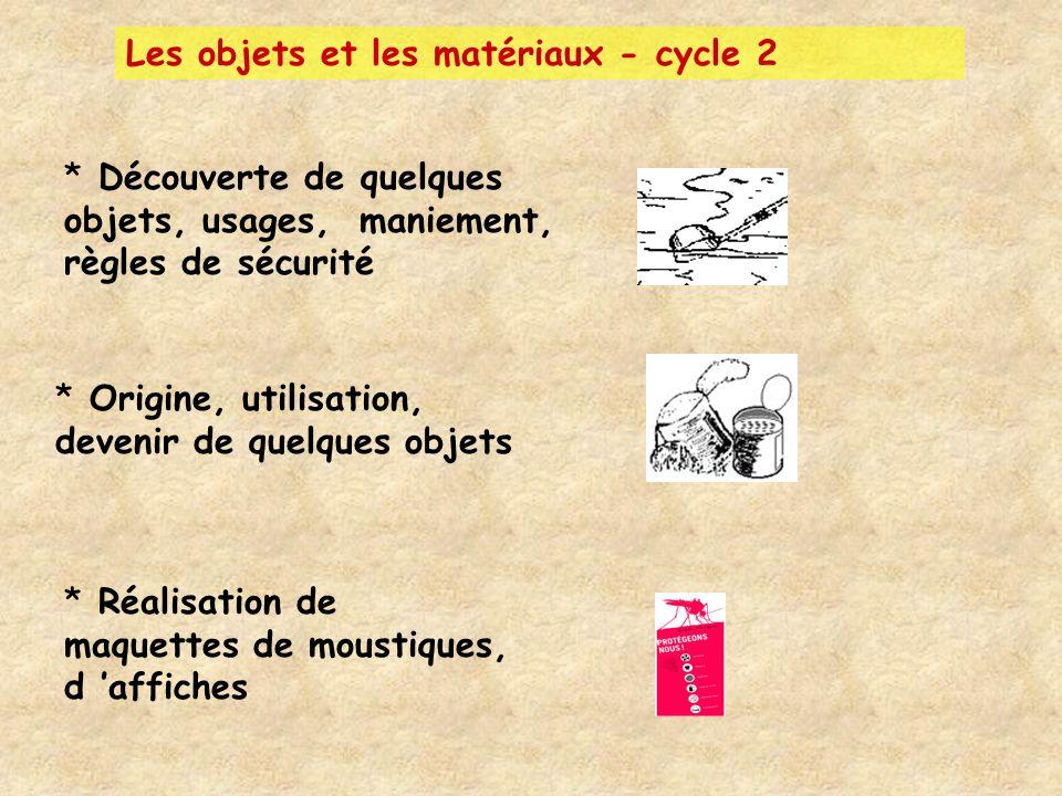 Les objets et les matériaux - cycle 2 * Découverte de quelques objets, usages, maniement, règles de sécurité * Origine, utilisation, devenir de quelqu