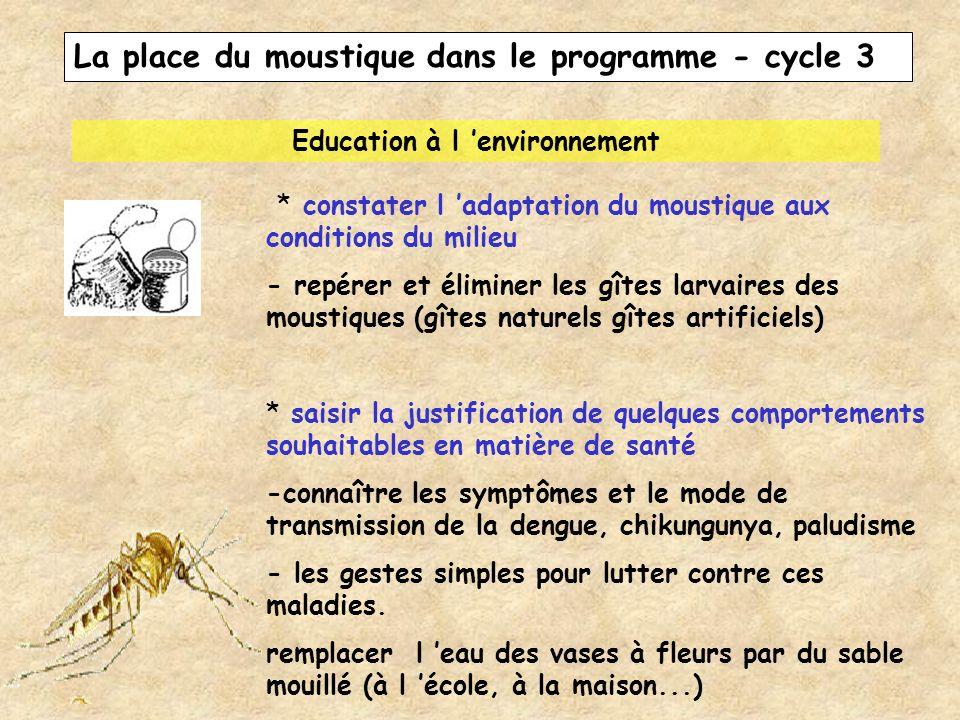 La place du moustique dans le programme - cycle 3 Education à l environnement * constater l adaptation du moustique aux conditions du milieu - repérer
