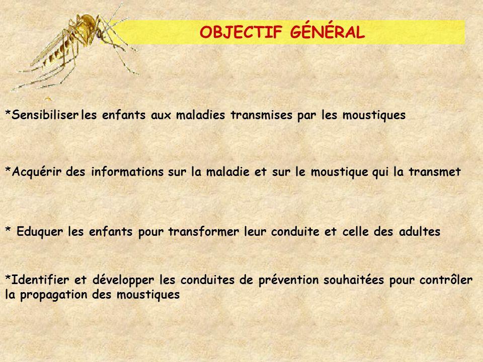 OBJECTIF GÉNÉRAL *Sensibiliser les enfants aux maladies transmises par les moustiques *Acquérir des informations sur la maladie et sur le moustique qu