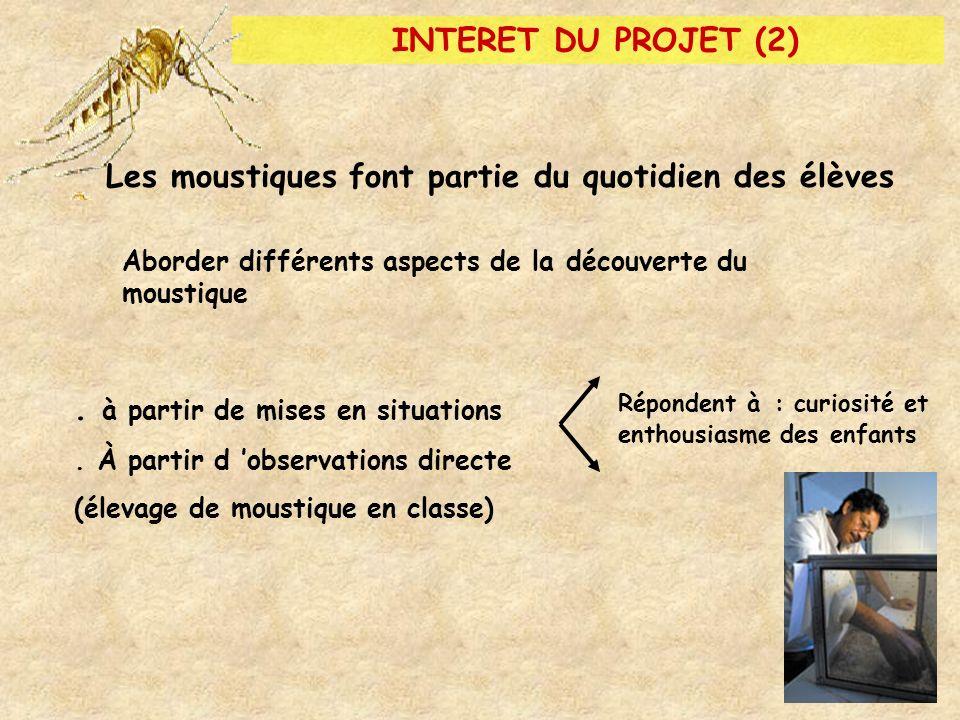 INTERET DU PROJET (2) Les moustiques font partie du quotidien des élèves Répondent à : curiosité et enthousiasme des enfants Aborder différents aspect