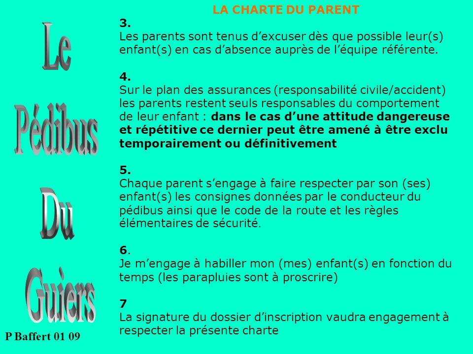 LA CHARTE DU PARENT 3. Les parents sont tenus dexcuser dès que possible leur(s) enfant(s) en cas dabsence auprès de léquipe référente. 4. Sur le plan