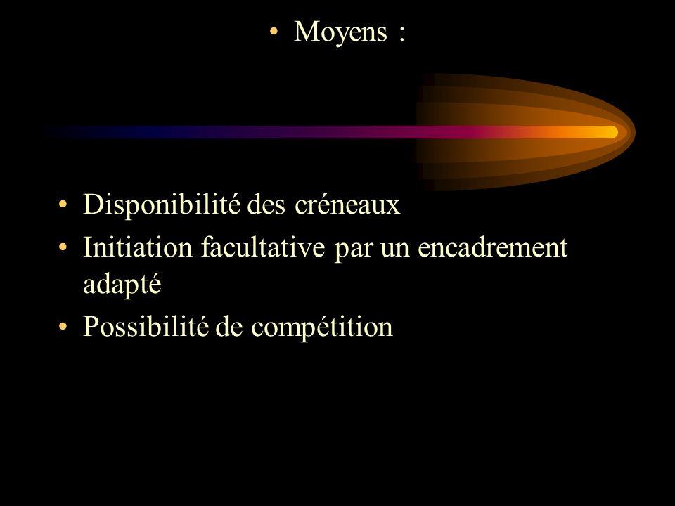 Moyens : Disponibilité des créneaux Initiation facultative par un encadrement adapté Possibilité de compétition
