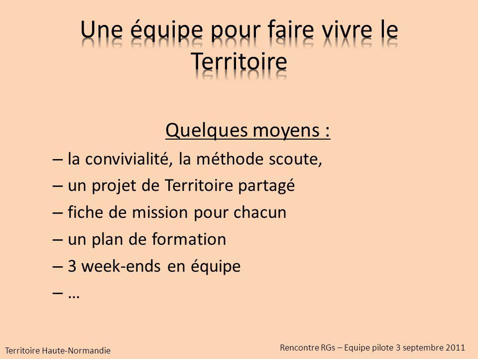 Quelques moyens : – la convivialité, la méthode scoute, – un projet de Territoire partagé – fiche de mission pour chacun – un plan de formation – 3 week-ends en équipe – … Territoire Haute-Normandie Rencontre RGs – Equipe pilote 3 septembre 2011