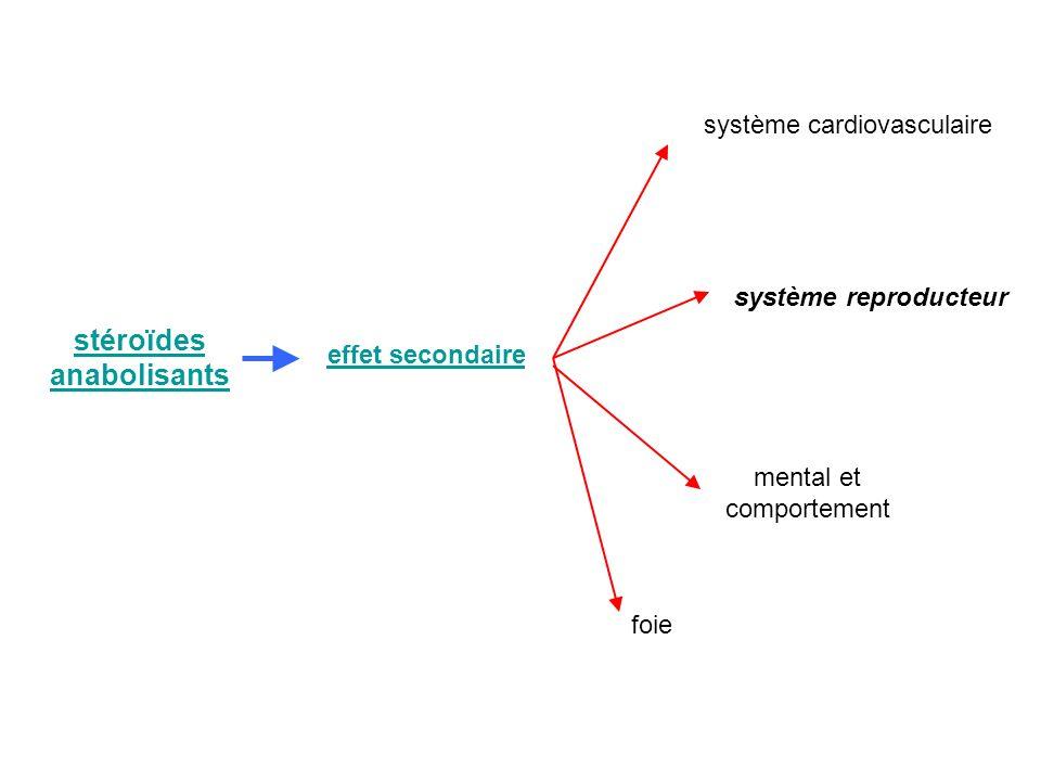stéroïdes anabolisants effet secondaire système reproducteur système cardiovasculaire foie mental et comportement