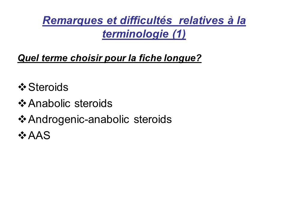 Remarques et difficultés relatives à la terminologie (1) Quel terme choisir pour la fiche longue? Steroids Anabolic steroids Androgenic-anabolic stero