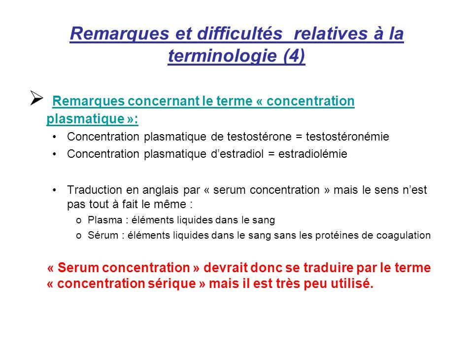 Remarques et difficultés relatives à la terminologie (4) Remarques concernant le terme « concentration plasmatique »: Concentration plasmatique de tes