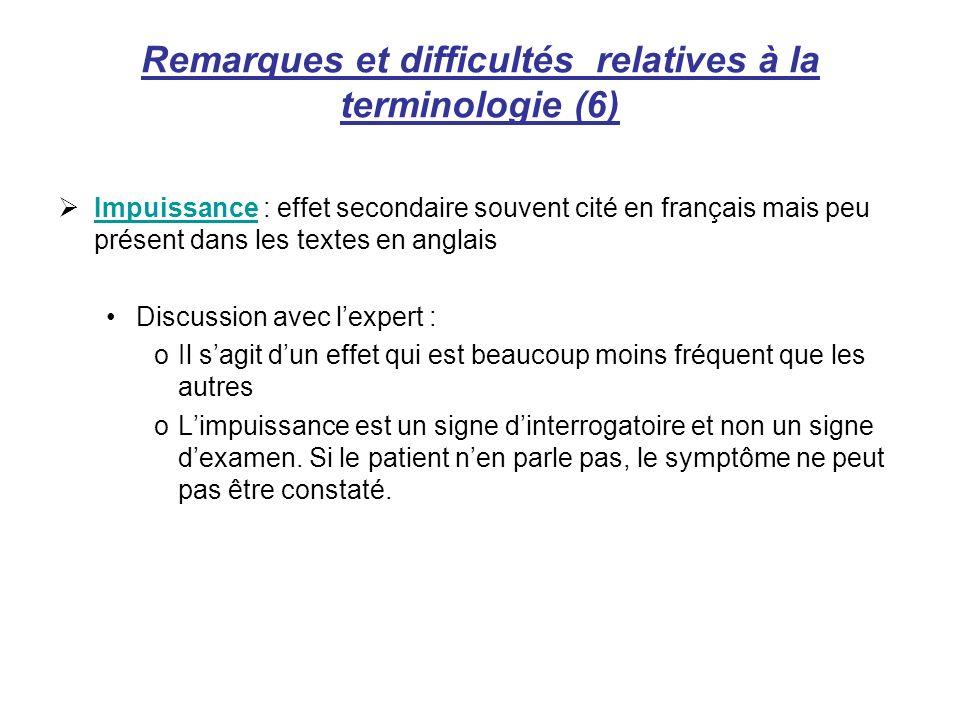 Remarques et difficultés relatives à la terminologie (6) Impuissance : effet secondaire souvent cité en français mais peu présent dans les textes en a