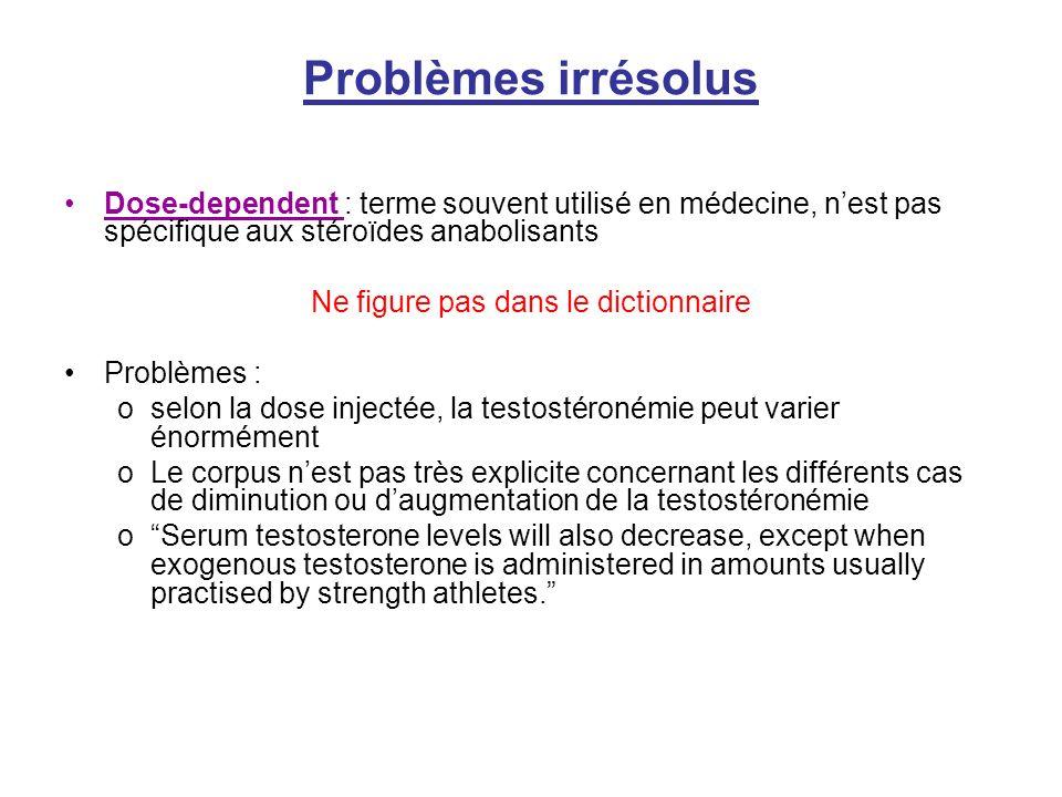 Problèmes irrésolus Dose-dependent : terme souvent utilisé en médecine, nest pas spécifique aux stéroïdes anabolisants Ne figure pas dans le dictionna