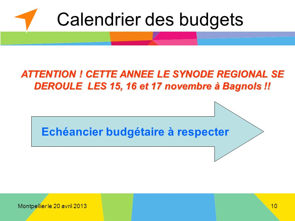 Montpellier le 20 avril 2013 Calendrier des budgets ATTENTION .