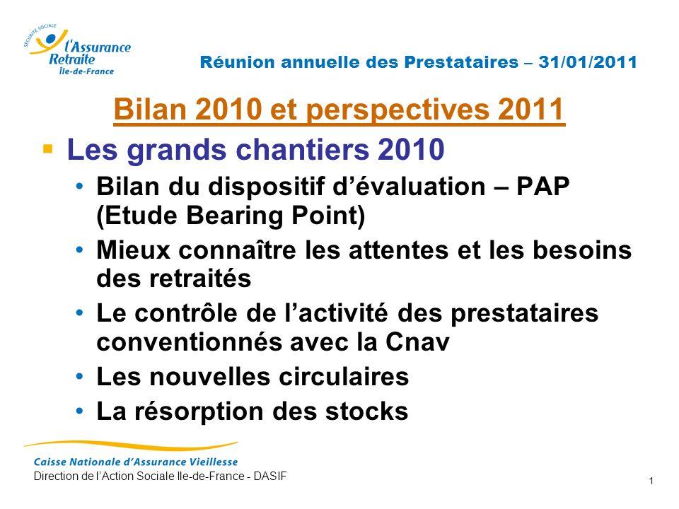 Direction de lAction Sociale Ile-de-France - DASIF 1 Réunion annuelle des Prestataires – 31/01/2011 Bilan 2010 et perspectives 2011 Les grands chantie