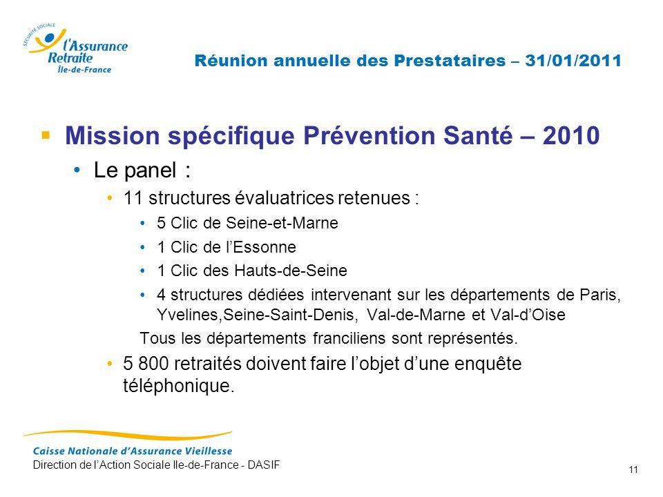 Direction de lAction Sociale Ile-de-France - DASIF 11 Réunion annuelle des Prestataires – 31/01/2011 Mission spécifique Prévention Santé – 2010 Le pan