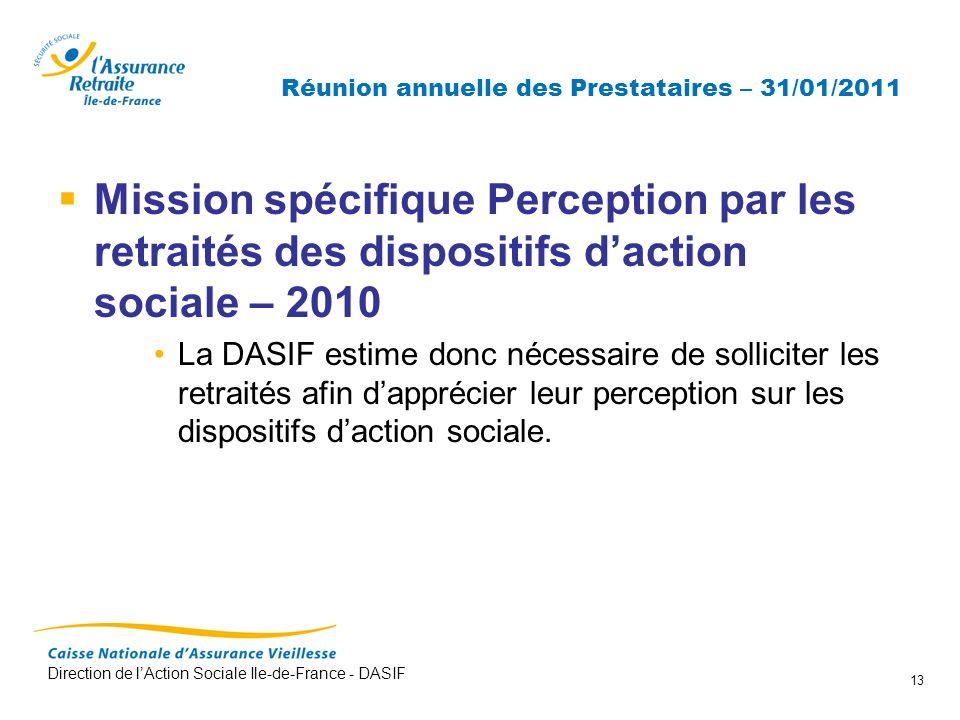 Direction de lAction Sociale Ile-de-France - DASIF 13 Réunion annuelle des Prestataires – 31/01/2011 Mission spécifique Perception par les retraités d