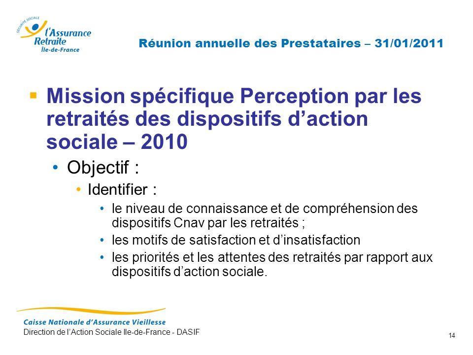 Direction de lAction Sociale Ile-de-France - DASIF 14 Réunion annuelle des Prestataires – 31/01/2011 Mission spécifique Perception par les retraités d