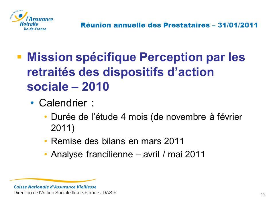 Direction de lAction Sociale Ile-de-France - DASIF 15 Réunion annuelle des Prestataires – 31/01/2011 Mission spécifique Perception par les retraités d