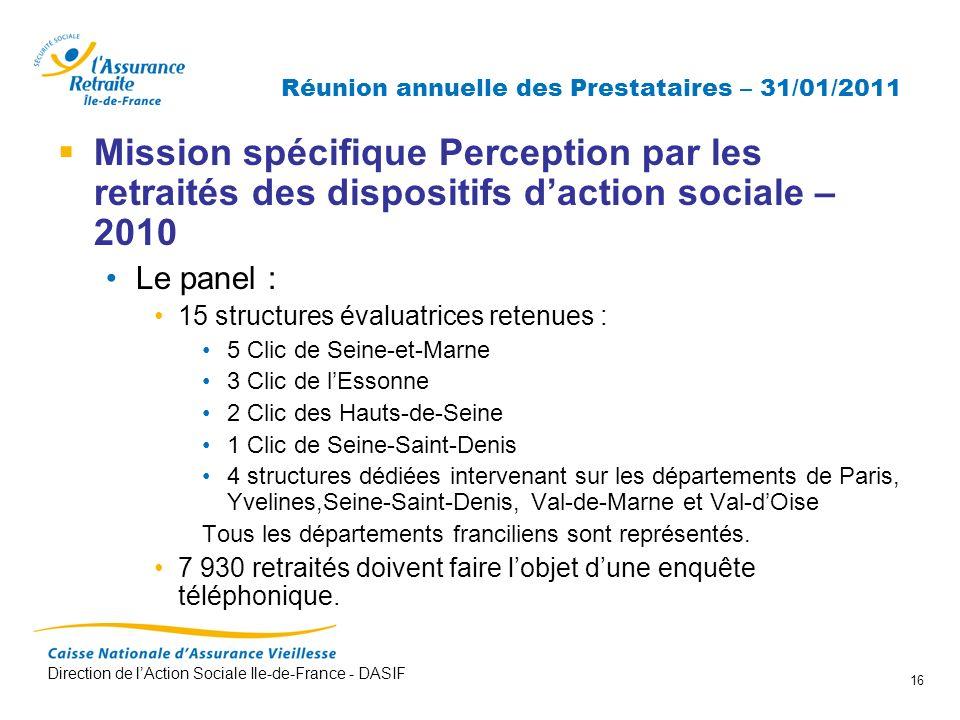 Direction de lAction Sociale Ile-de-France - DASIF 16 Réunion annuelle des Prestataires – 31/01/2011 Mission spécifique Perception par les retraités d