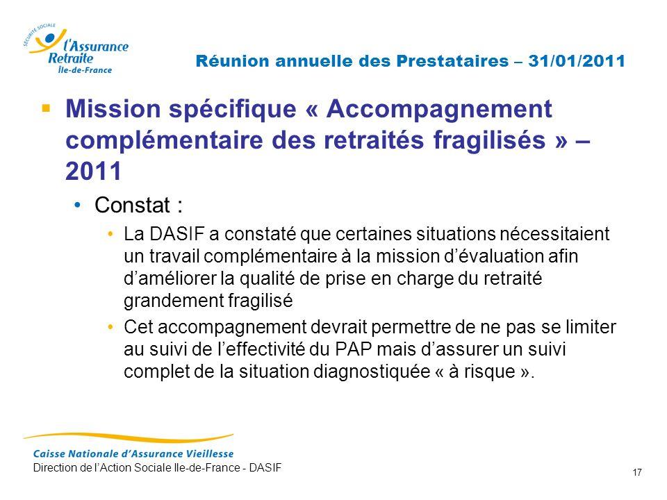 Direction de lAction Sociale Ile-de-France - DASIF 17 Réunion annuelle des Prestataires – 31/01/2011 Mission spécifique « Accompagnement complémentair