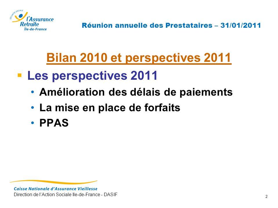 Direction de lAction Sociale Ile-de-France - DASIF 2 Réunion annuelle des Prestataires – 31/01/2011 Bilan 2010 et perspectives 2011 Les perspectives 2
