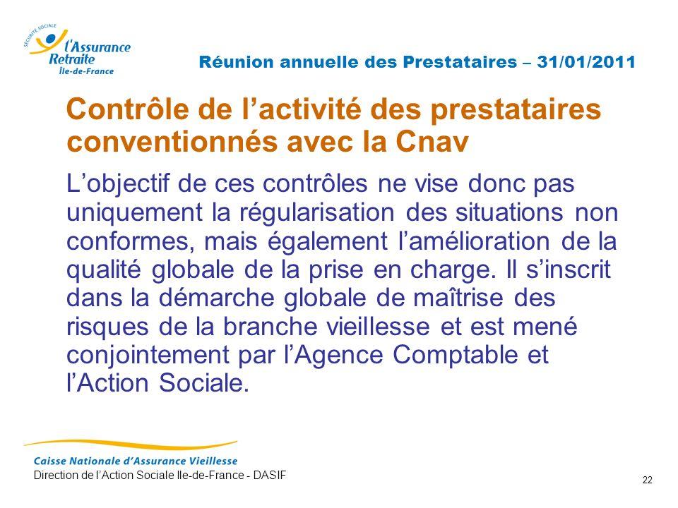 Direction de lAction Sociale Ile-de-France - DASIF 22 Réunion annuelle des Prestataires – 31/01/2011 Contrôle de lactivité des prestataires convention