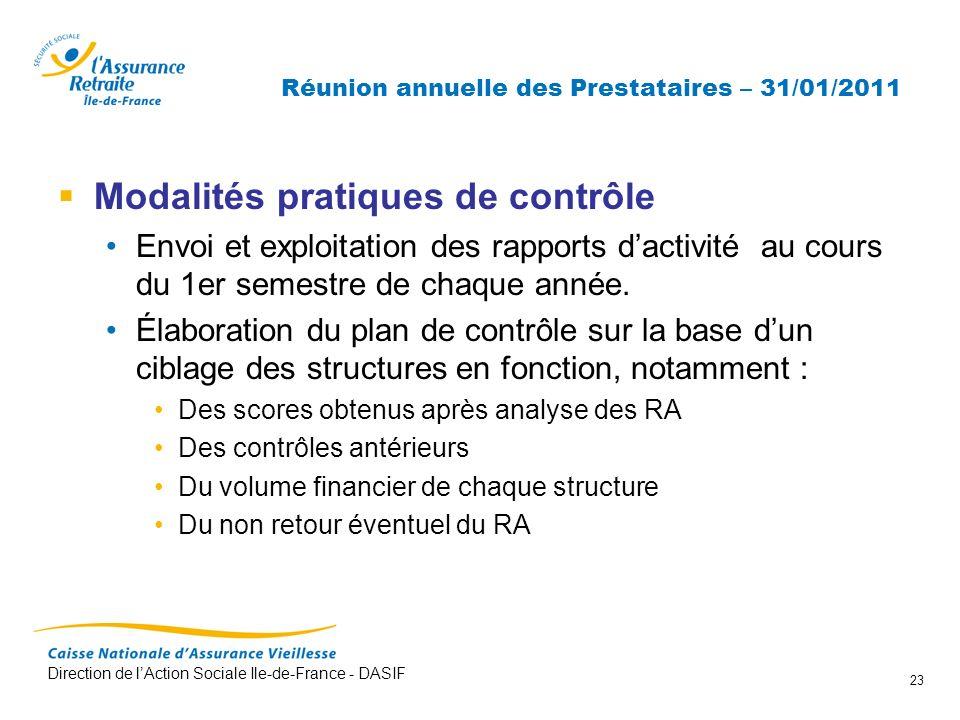 Direction de lAction Sociale Ile-de-France - DASIF 23 Réunion annuelle des Prestataires – 31/01/2011 Modalités pratiques de contrôle Envoi et exploita