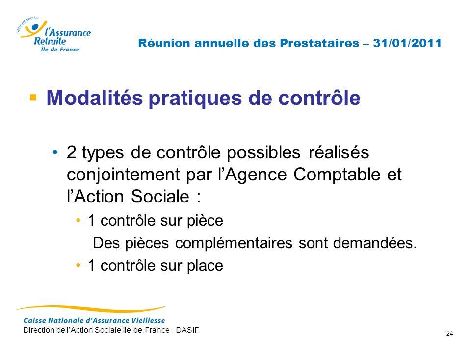 Direction de lAction Sociale Ile-de-France - DASIF 24 Réunion annuelle des Prestataires – 31/01/2011 Modalités pratiques de contrôle 2 types de contrô