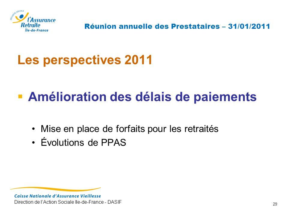 Direction de lAction Sociale Ile-de-France - DASIF 29 Réunion annuelle des Prestataires – 31/01/2011 Les perspectives 2011 Amélioration des délais de