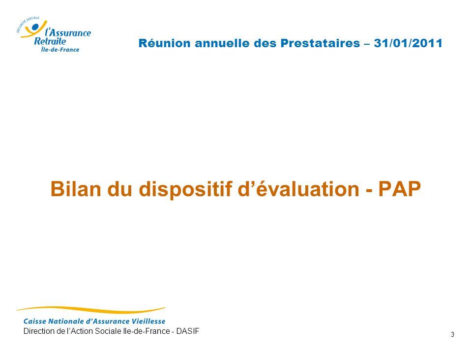 Direction de lAction Sociale Ile-de-France - DASIF 3 Réunion annuelle des Prestataires – 31/01/2011 Bilan du dispositif dévaluation - PAP
