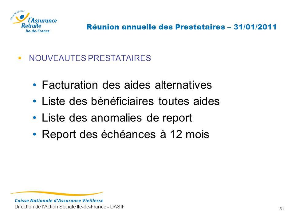 Direction de lAction Sociale Ile-de-France - DASIF 31 Réunion annuelle des Prestataires – 31/01/2011 NOUVEAUTES PRESTATAIRES Facturation des aides alt
