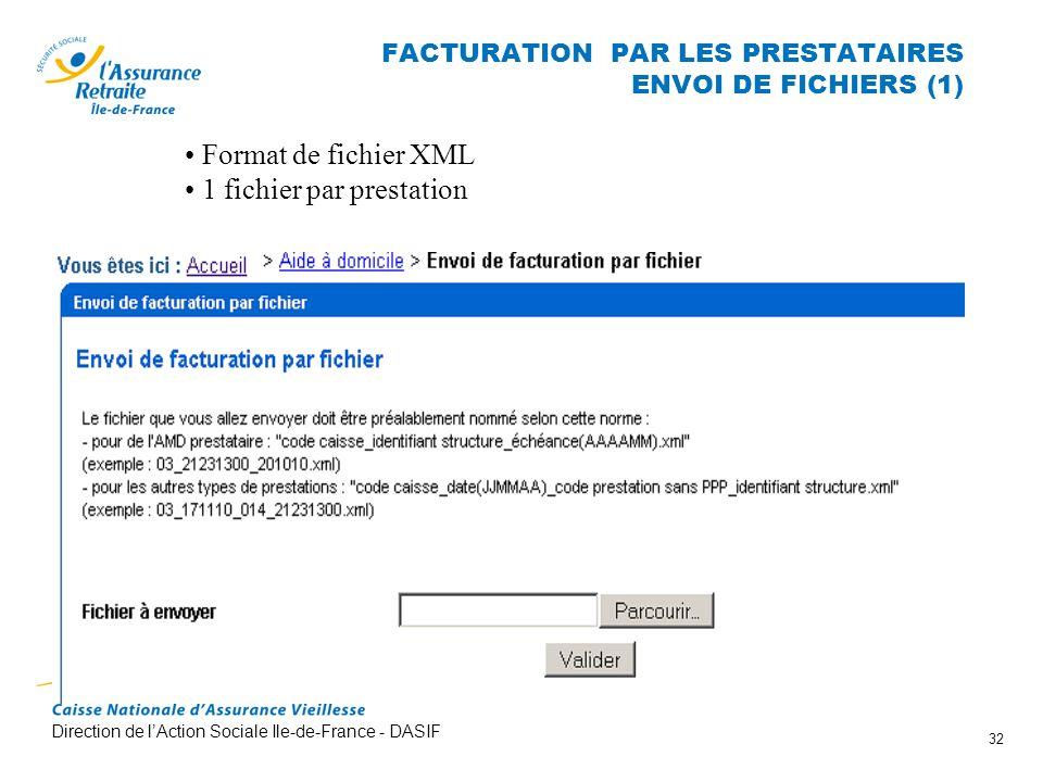Direction de lAction Sociale Ile-de-France - DASIF 32 FACTURATION PAR LES PRESTATAIRES ENVOI DE FICHIERS (1) Format de fichier XML 1 fichier par prest