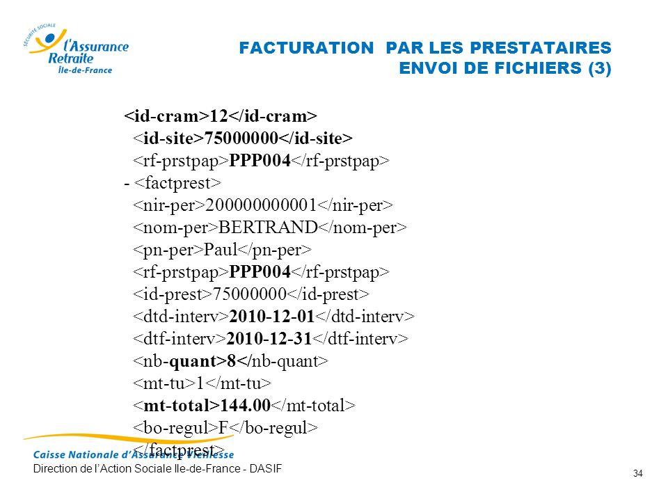 Direction de lAction Sociale Ile-de-France - DASIF 34 FACTURATION PAR LES PRESTATAIRES ENVOI DE FICHIERS (3) 12 75000000 PPP004 - 200000000001 BERTRAN