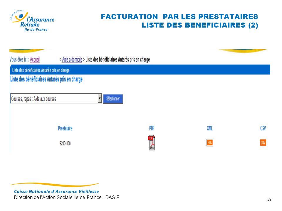 Direction de lAction Sociale Ile-de-France - DASIF 39 FACTURATION PAR LES PRESTATAIRES LISTE DES BENEFICIAIRES (2)
