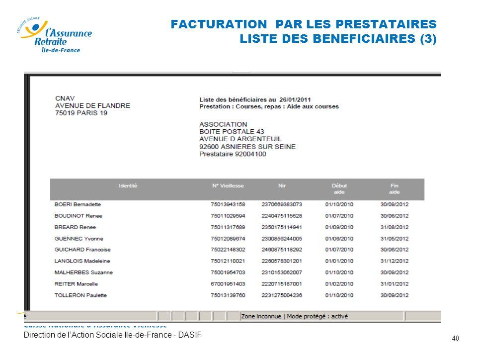 Direction de lAction Sociale Ile-de-France - DASIF 40 FACTURATION PAR LES PRESTATAIRES LISTE DES BENEFICIAIRES (3)