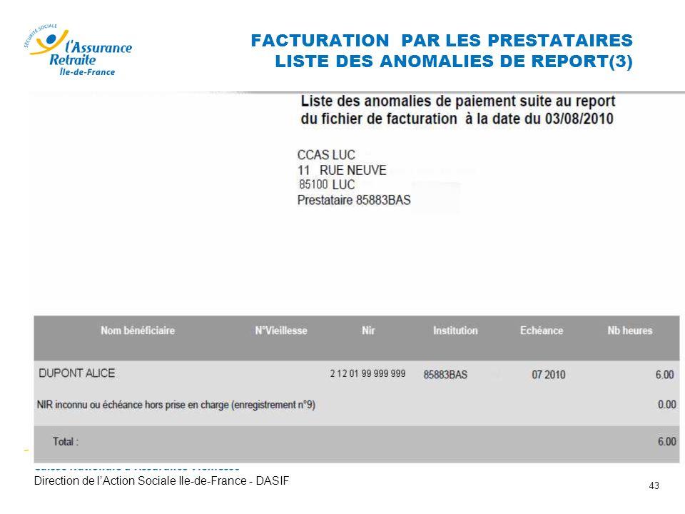 Direction de lAction Sociale Ile-de-France - DASIF 43 FACTURATION PAR LES PRESTATAIRES LISTE DES ANOMALIES DE REPORT(3)