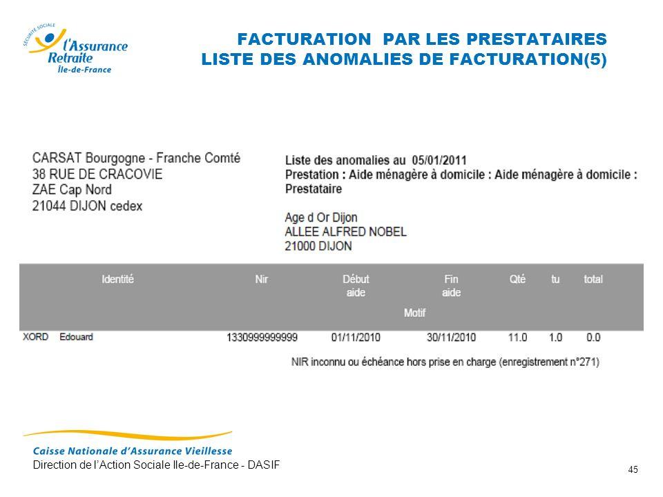 Direction de lAction Sociale Ile-de-France - DASIF 45 FACTURATION PAR LES PRESTATAIRES LISTE DES ANOMALIES DE FACTURATION(5)