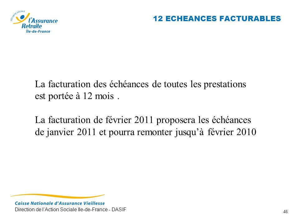 Direction de lAction Sociale Ile-de-France - DASIF 46 12 ECHEANCES FACTURABLES La facturation des échéances de toutes les prestations est portée à 12