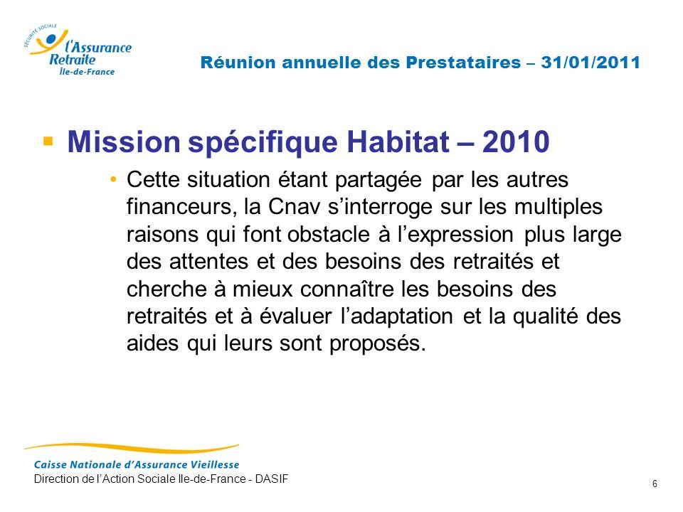Direction de lAction Sociale Ile-de-France - DASIF 6 Réunion annuelle des Prestataires – 31/01/2011 Mission spécifique Habitat – 2010 Cette situation