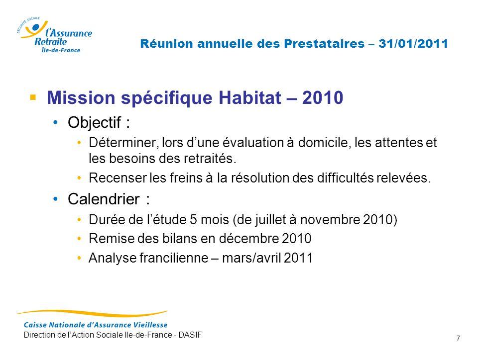 Direction de lAction Sociale Ile-de-France - DASIF 7 Réunion annuelle des Prestataires – 31/01/2011 Mission spécifique Habitat – 2010 Objectif : Déter