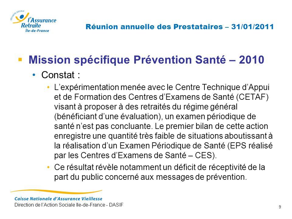 Direction de lAction Sociale Ile-de-France - DASIF 9 Réunion annuelle des Prestataires – 31/01/2011 Mission spécifique Prévention Santé – 2010 Constat