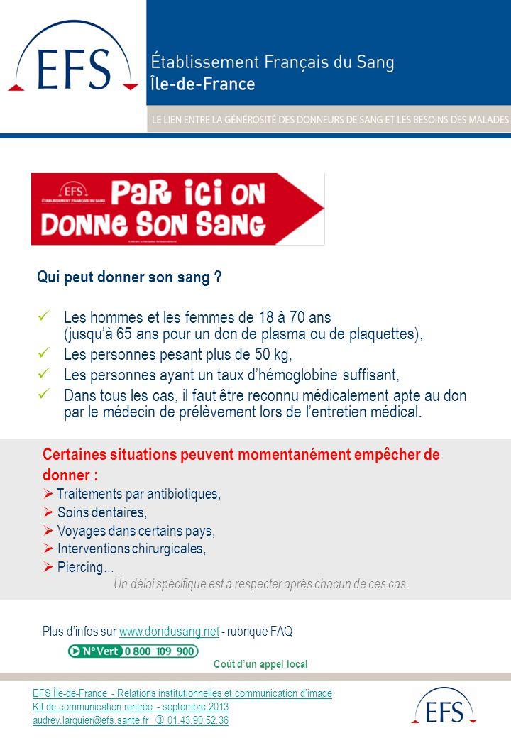 EFS Île-de-France - Relations institutionnelles et communication dimage Kit de communication rentrée - septembre 2013 audrey.larquier@efs.sante.fr 01.43.90.52.36