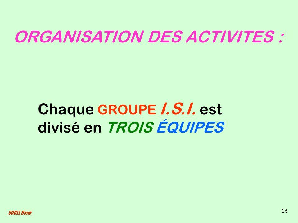 SOULE René 16 ORGANISATION DES ACTIVITES : Chaque GROUPE I.S.I. est divisé en TROIS ÉQUIPES