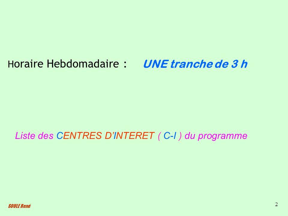 SOULE René 2 Liste des CENTRES DINTERET ( C-I ) du programme H oraire Hebdomadaire : UNE tranche de 3 h