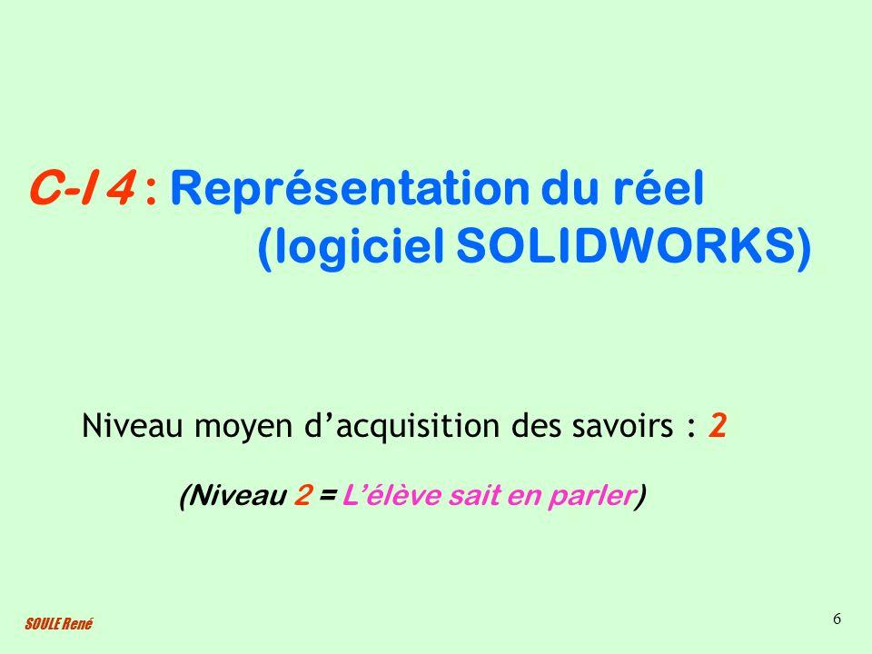 SOULE René 6 Représentation du réel (logiciel SOLIDWORKS) Niveau moyen dacquisition des savoirs : 2 (Niveau 2 = Lélève sait en parler) C-I 4 :