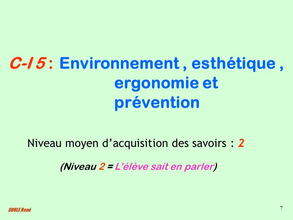 SOULE René 7 Environnement, esthétique, ergonomie et prévention Niveau moyen dacquisition des savoirs : 2 (Niveau 2 = Lélève sait en parler) C-I 5 :