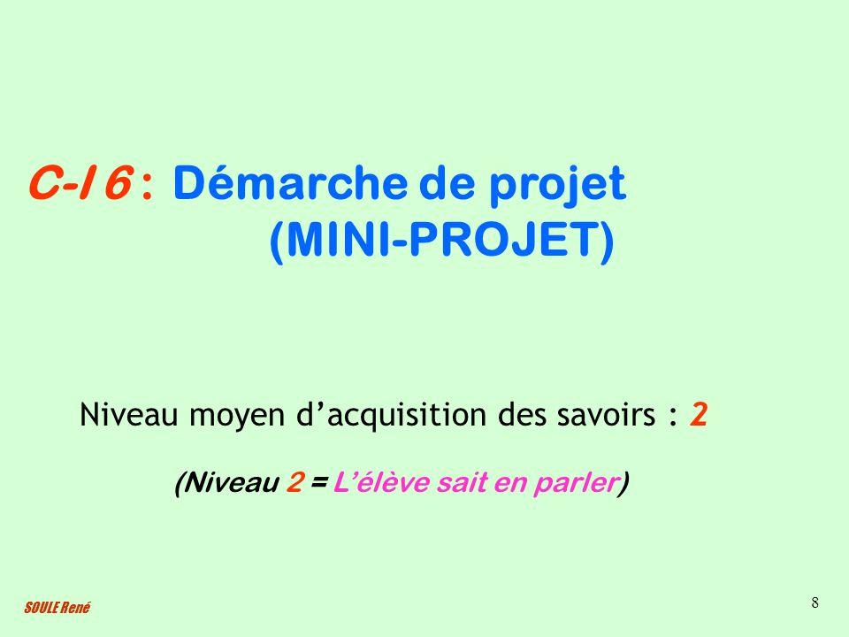 SOULE René 8 Démarche de projet (MINI-PROJET) Niveau moyen dacquisition des savoirs : 2 (Niveau 2 = Lélève sait en parler) C-I 6 :