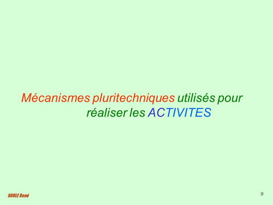 SOULE René 9 Mécanismes pluritechniques utilisés pour réaliser les ACTIVITES