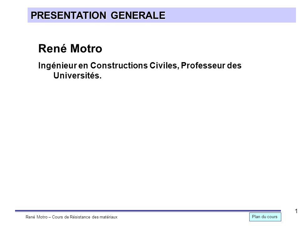 René Motro – Cours de Résistance des matériaux Plan du cours 2 PRESENTATION GENERALE Stabilité des constructions 1.