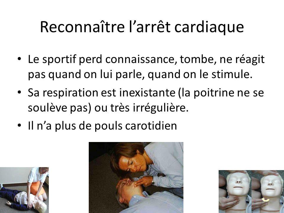 Reconnaître larrêt cardiaque Le sportif perd connaissance, tombe, ne réagit pas quand on lui parle, quand on le stimule. Sa respiration est inexistant