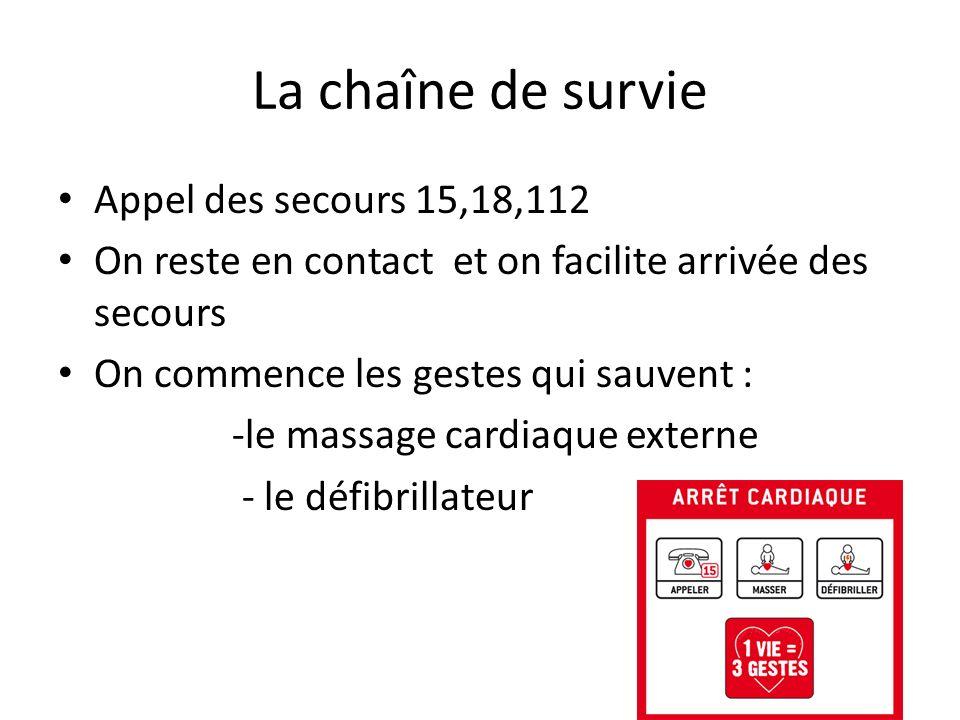 La chaîne de survie Appel des secours 15,18,112 On reste en contact et on facilite arrivée des secours On commence les gestes qui sauvent : -le massag